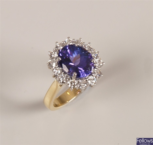 18ct gold tanzanite and diamond cluster ring with