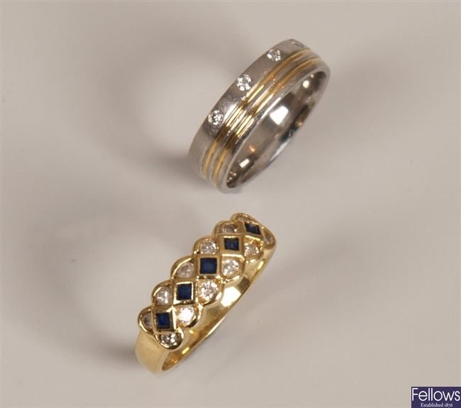 Two rings, to include a Platinum band ring set