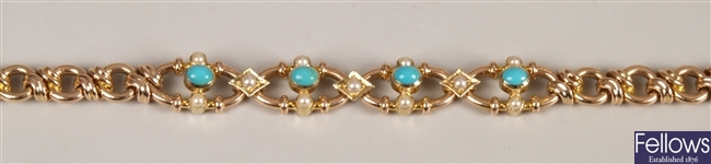 15ct gold turquoise and seed pearl set fancy link