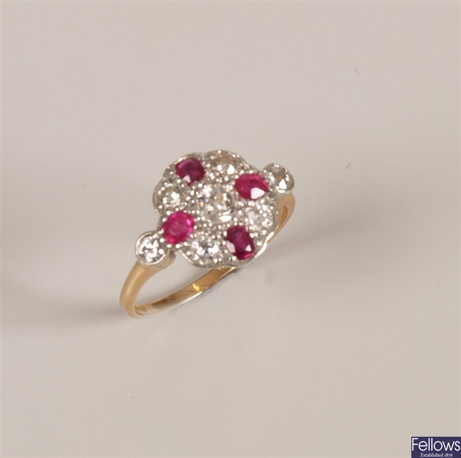 18ct gold ruby and diamond set cluster ring, with