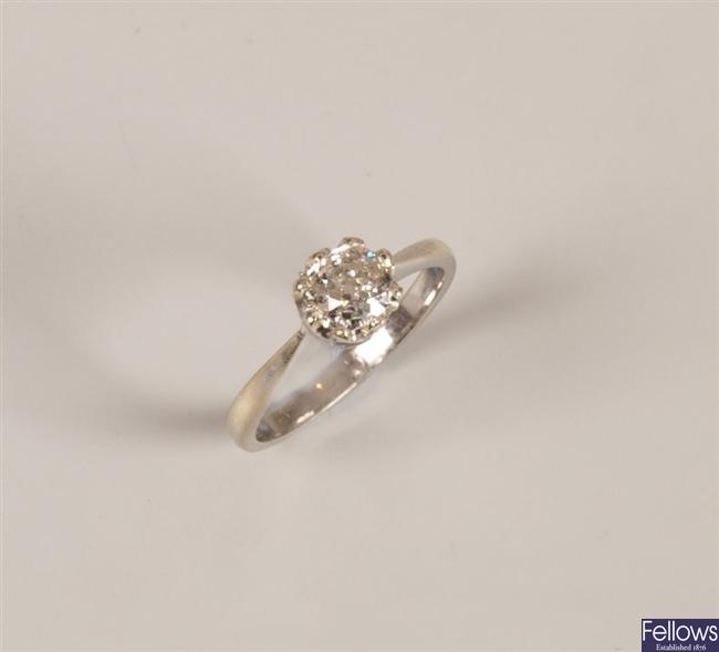 9ct white gold single stone old cut diamond ring