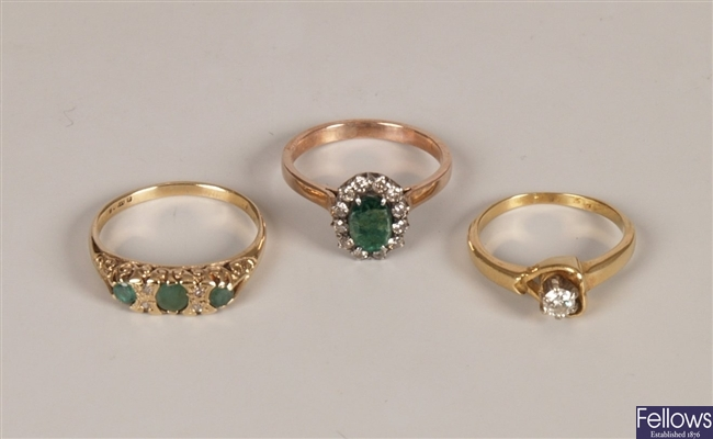 Three rings to include a single stone diamond, an