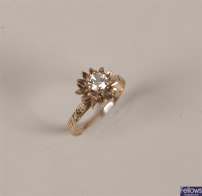 9ct gold single stone diamond ring with a round