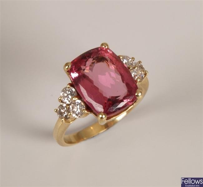 18k gold pink tourmaline and diamond set ring, a