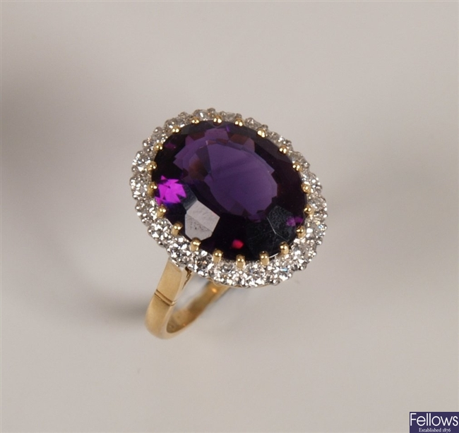 18ct gold amethyst and diamond set cluster ring,