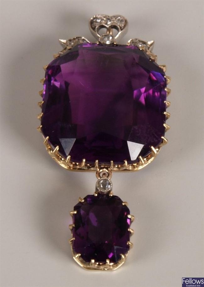 Late Victorian ornate diamond and amethyst set