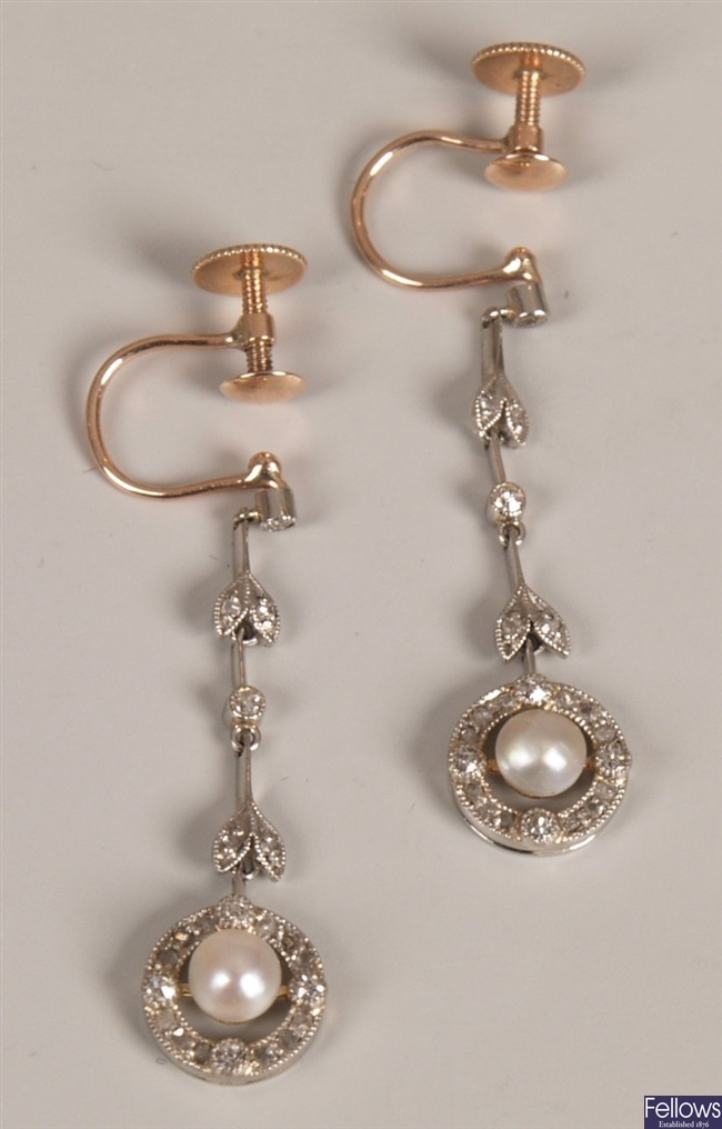 Edwardian cultured pearl and diamond dropper