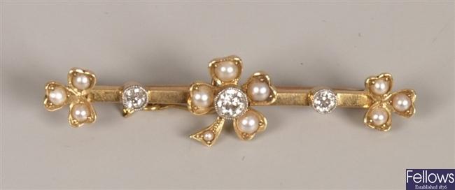 15ct gold diamond and split pearl set bar brooch,
