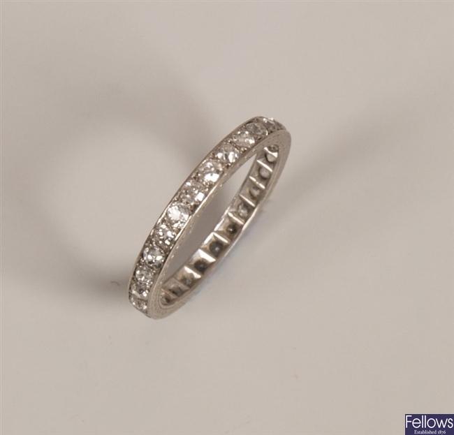 Platinum old european cut diamond set full