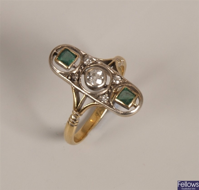 18ct gold diamond and emerald set up finger ring,