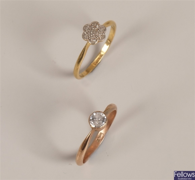 Two rings, to include a 9ct gold single stone