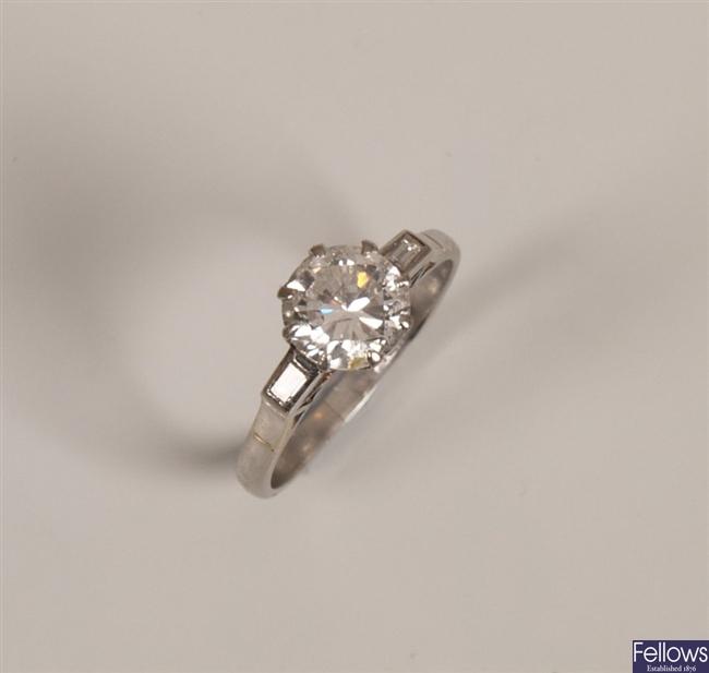 Platinum mounted single stone  round cut diamond