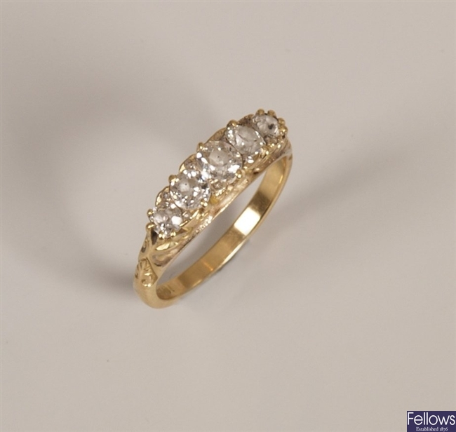 18ct gold five stone old cut diamond carved half