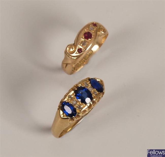 18ct gold sapphire and rose cut diamond nine