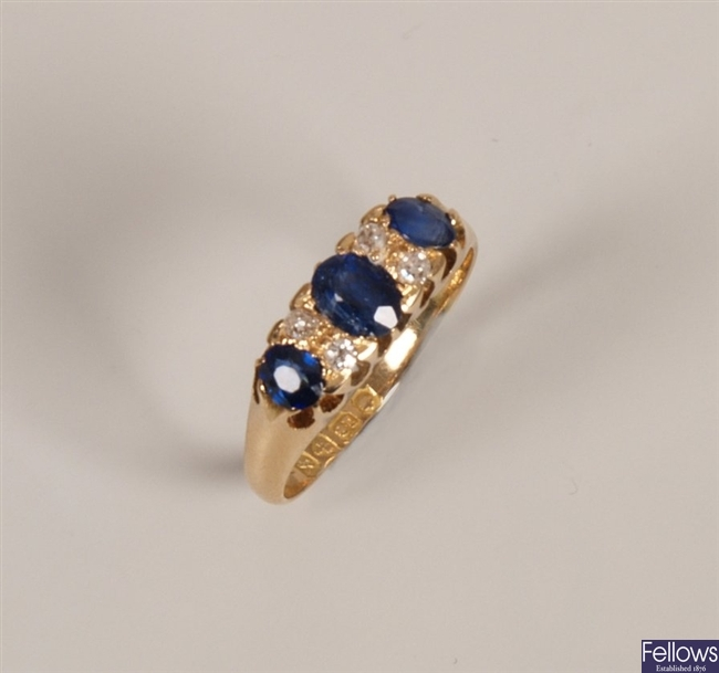 18ct gold sapphire and diamond seven stone boat