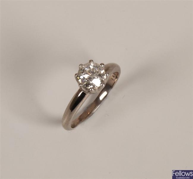 A round cut brilliant  diamond of 1.10cts claw