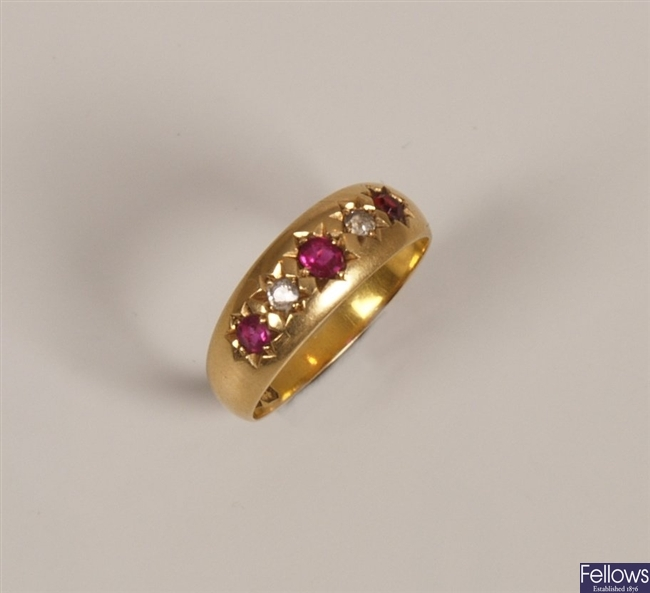 Victorian five stone ruby and diamond ring with