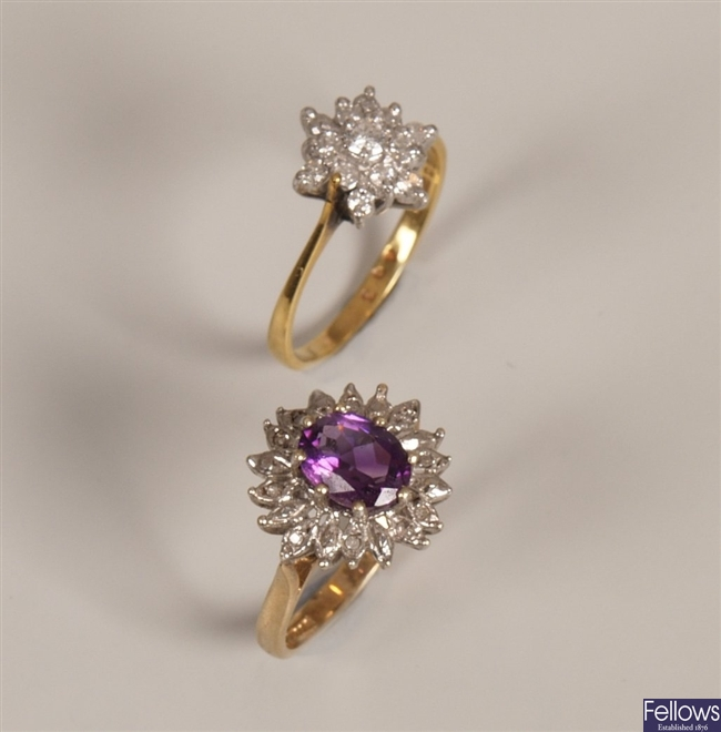 Two rings to include an 18ct gold diamond cluster