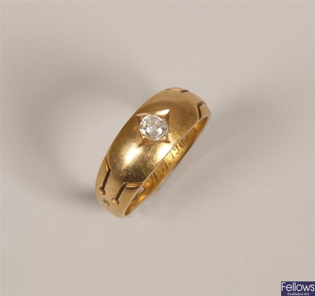 Victorian 18ct gold single stone diamond tapered
