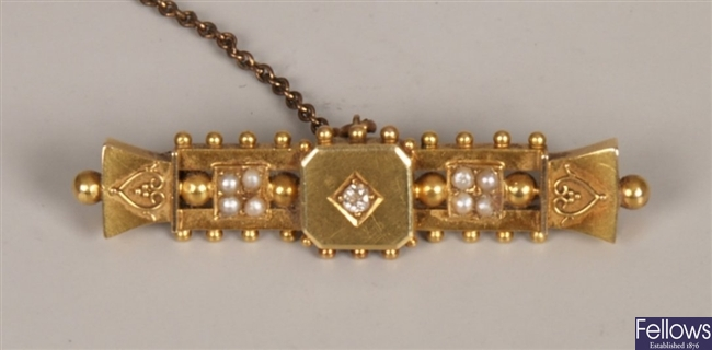 15ct gold diamond and seed pearl bar brooch with