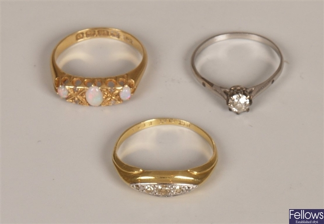 Three rings to include an Edwardian 18ct gold