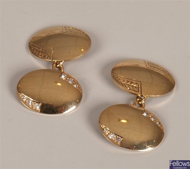 Pair of 9ct gold diamond set chain link cufflinks