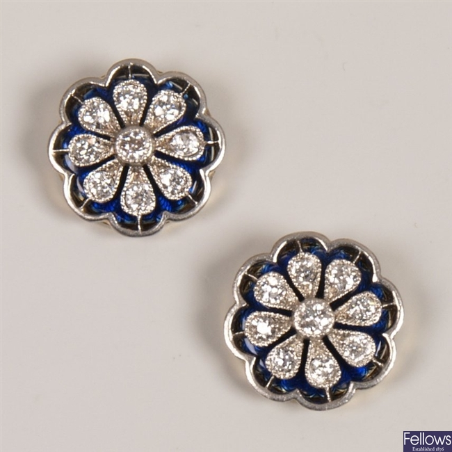 Pair of 18ct gold diamond and enamel cluster stud