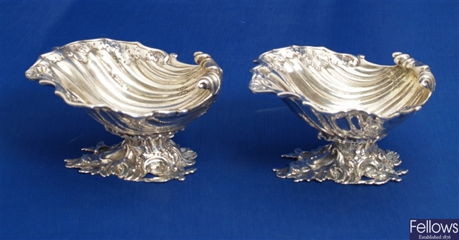 A pair of Victorian silver salts, each designed