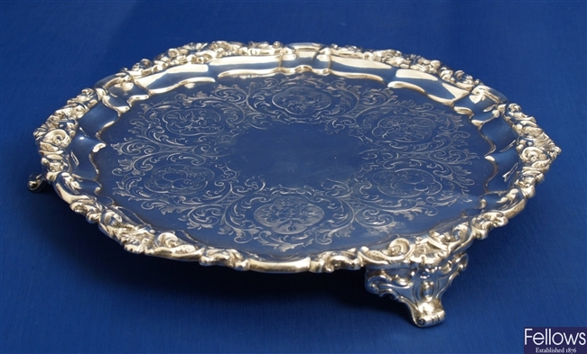 An early Victorian silver salver with engraved