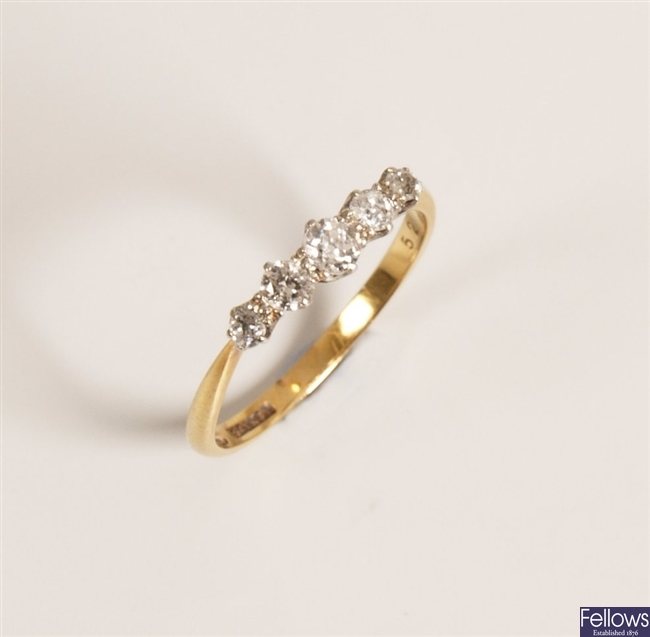 18ct gold and platinum mounted five stone