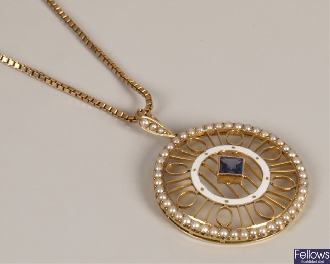 Sapphire and seed pearl circular pendant with a