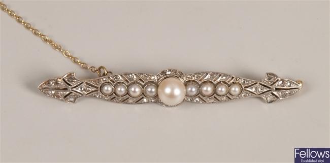 Cultured pearl, split pearl and diamond bar