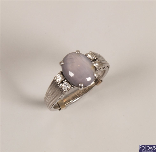 18ct white gold sapphire and diamond ring with a