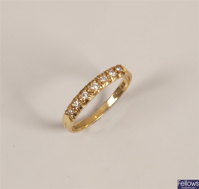 18ct gold seven stone slight graduated diamond