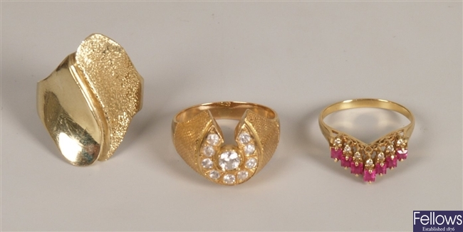 Three rings to include an 18ct gold ruby and