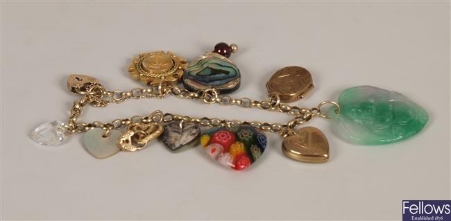 9ct gold belcher link charm bracelet, the charms
