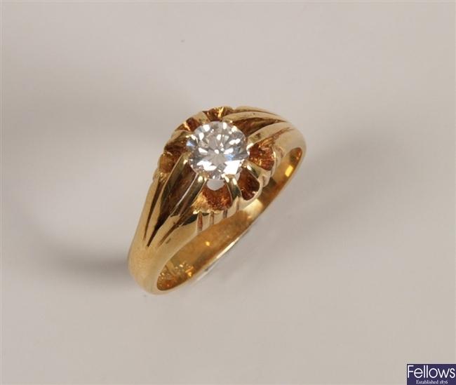 18ct gold gentleman's single stone diamond ring