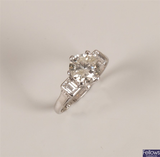 18ct white gold and platinum mounted single stone