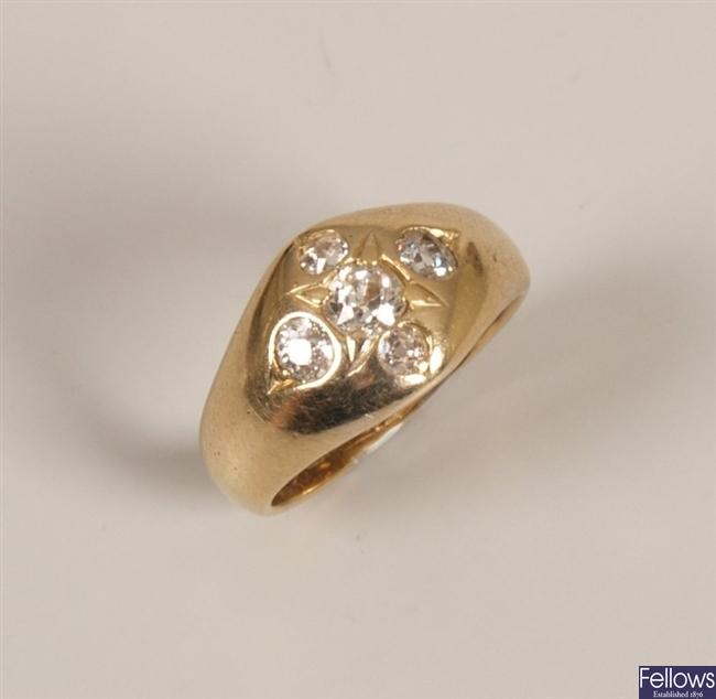 18ct gold diamond ring set five inlaid old