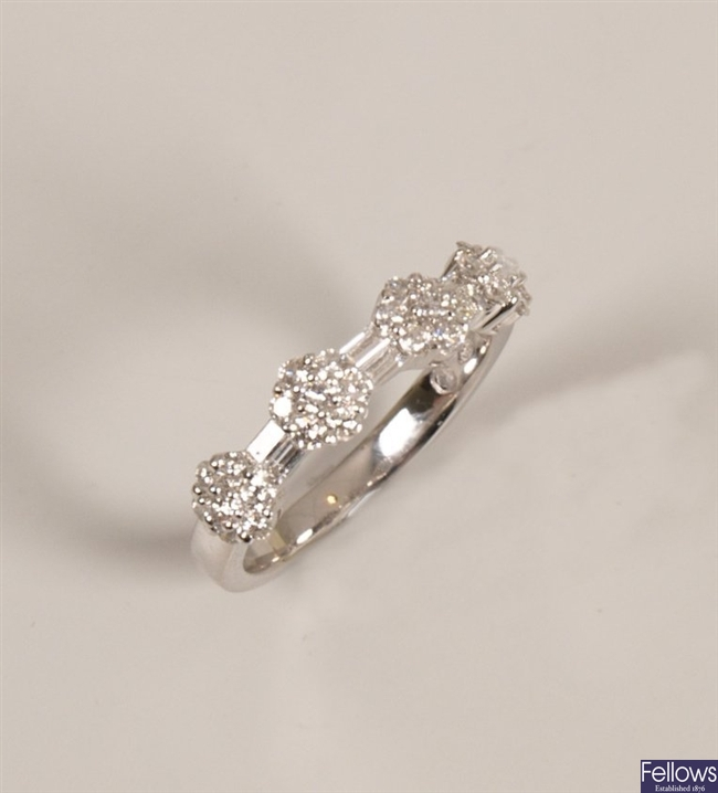 18ct gold diamond ring with four round brilliant
