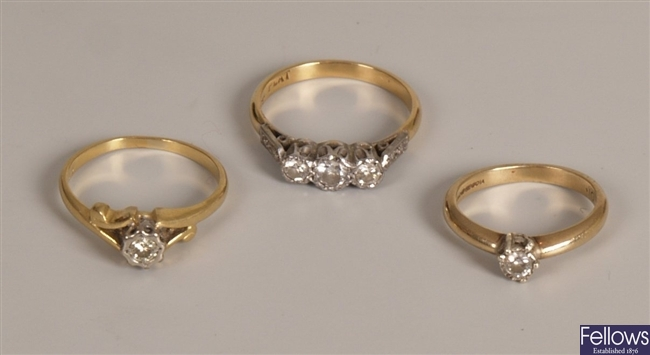 Three rings to include an 18ct gold single stone