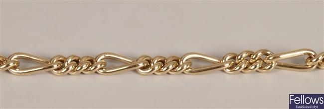 Fiagaro link bracelet, weight 24.55 grams.
