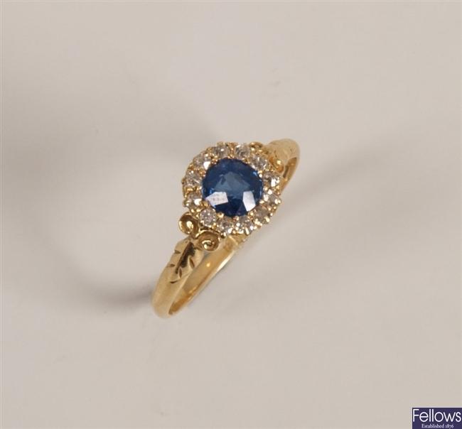 Victorian 18ct gold sapphire and diamond set