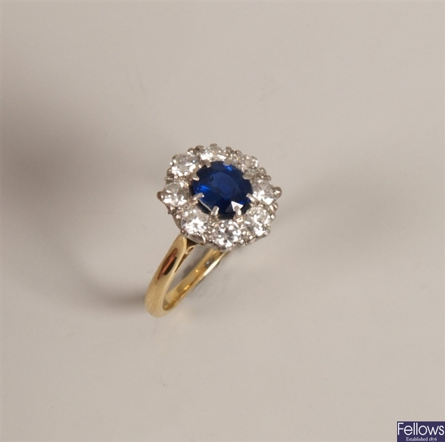18ct gold and platinum sapphire and diamond