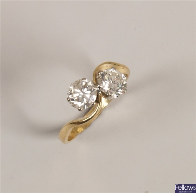 18ct gold two stone round brilliant diamond