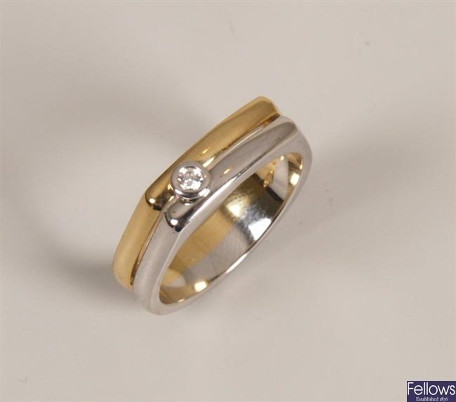 18ct bi-colour gold two row band ring collet set