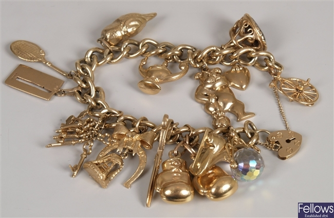 9ct yellow gold twisted curb link bracelet and