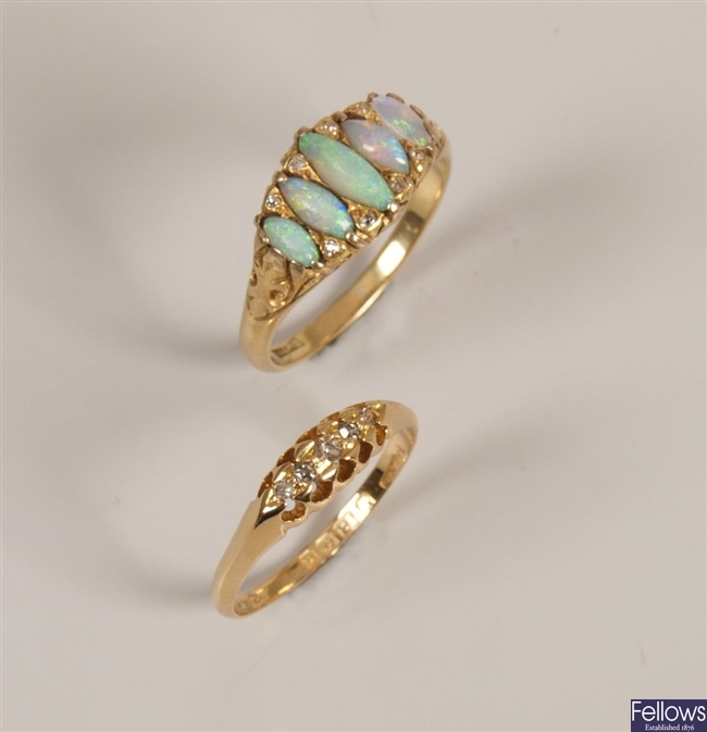 Edwardian 18ct gold dress ring set with navette