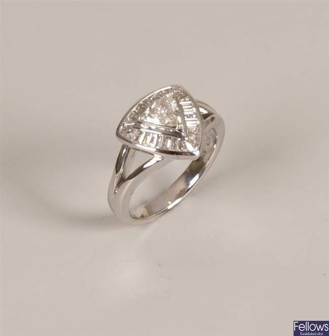 18k white gold diamond cluster ring with a