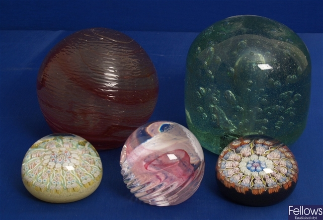 Two Millefiori paperweights, Caithness example